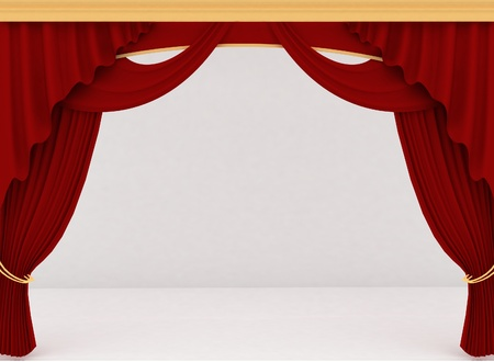 concert stage: Open red theater curtain, background Stock Photo