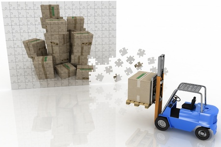 boxes shown in the plane of the puzzle and forklift with a load on a white background photo