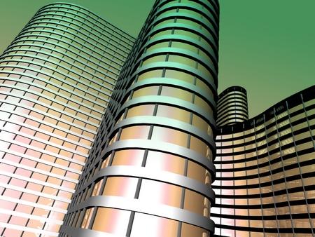 ガラスとスチールから作られた近代的なオフィスビル