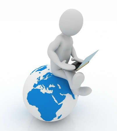 3d people - person with a laptop and globe. 3d render Stock Photo - 16124640