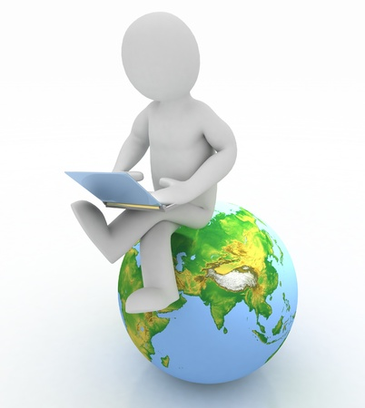 3d people - person with a laptop and globe. 3d render photo