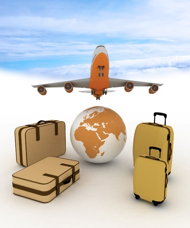 airliner and suitcases on sky background photo