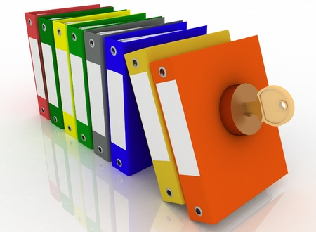 Data security. Safety of office documents and folders photo