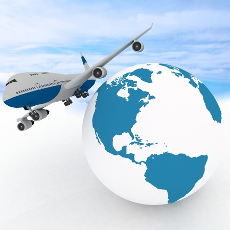 airliner with globe in the sky background photo