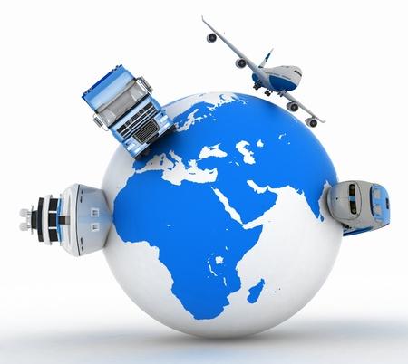 types de transport sur un globe