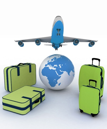 airliner and suitcases on white background photo