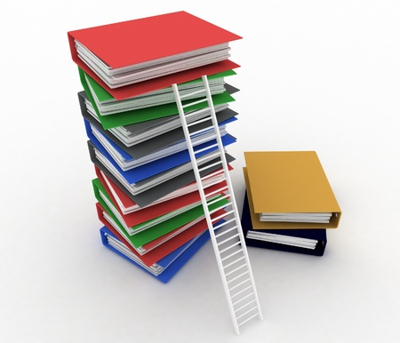 advancement: Folders and ladder. Conception of career advancement   Stock Photo
