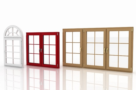 window panes: 3d illustration of closed plastic windows on white background