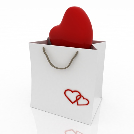 heart in bag for gift on white background photo
