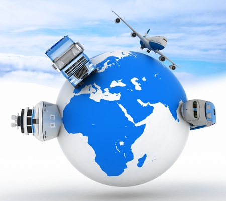 types of transport on a globe in the sky background photo