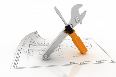 forkwrench: 3d wrench and screwdriver with draft. Illustration on white.