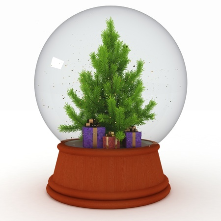 Snow ball with Christmas tree and  presents photo