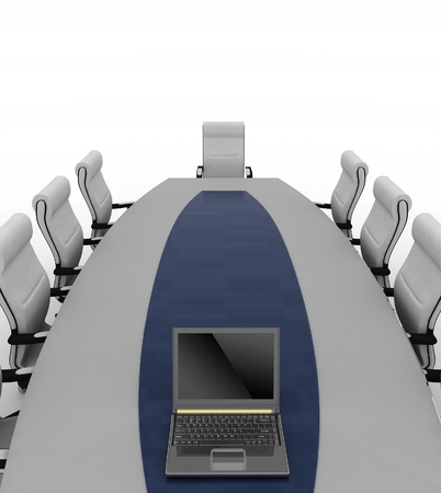 elbowchair: Conference Table with empty chairs for modern office.