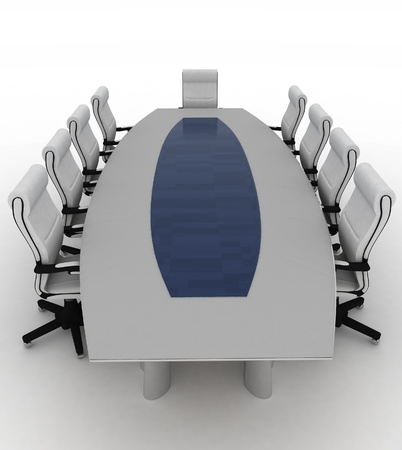 Conference Table with empty chairs for modern office.