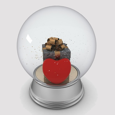 Snow globe with box and red heart on white background photo