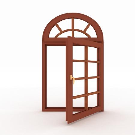3d open plastic window on white background Stock Photo - 17210022