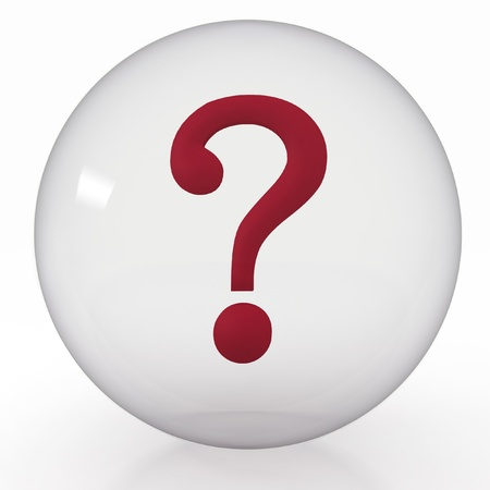 3d illustration of transparent ball with  question mark