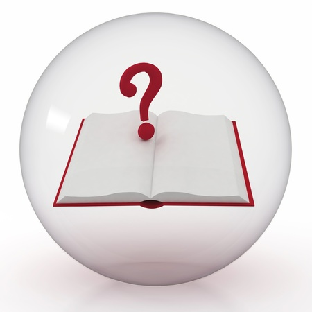inwardly: 3d illustration of transparent ball with open book and question mark inwardly Stock Photo