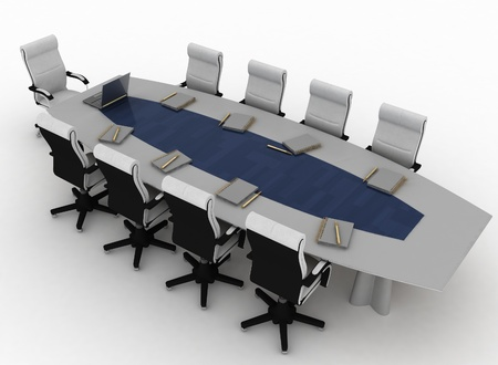 Conference Table with empty chairs for modern office  photo