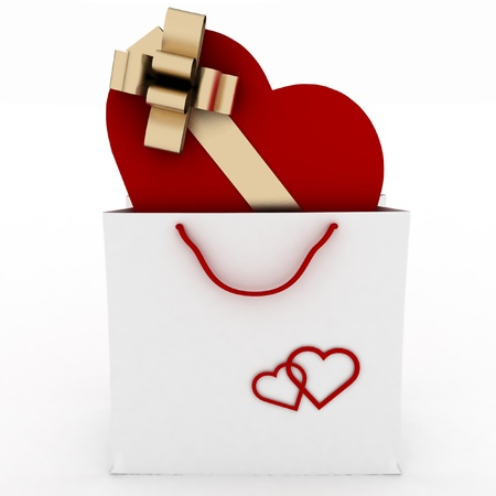 box as heart form with gold bow in bag for gift on white photo