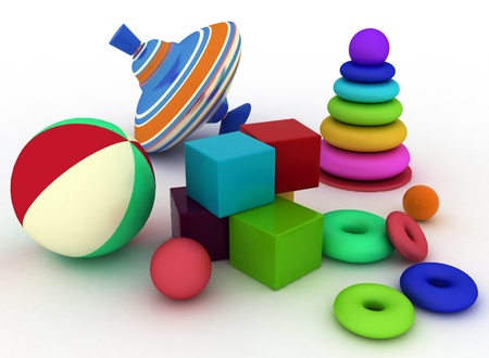 spinning top: 3d render illustration of childs toys. Ball, blocks, pyramid and spinning top Stock Photo