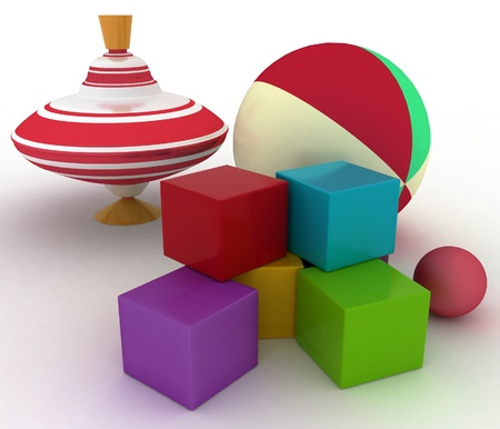 spinning top: 3d render illustration of childs toys. Ball, blocks and spinning top