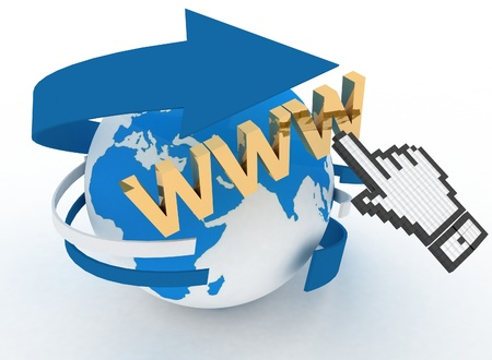 3d illustration of internet world wide web concept. Hand cursor and earth globe Stock Illustration - 17425902