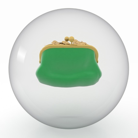 green purse  in transparent sphere  on white background photo