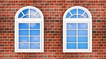 3d windows on the brick wall, with the reflection of the sky in them photo