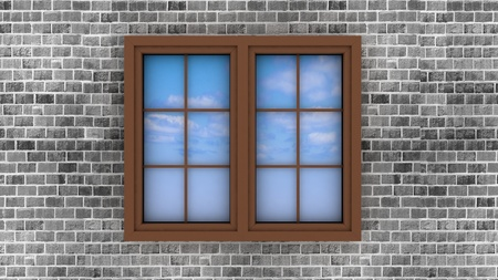 3d plastic window on a brick wall, with the reflection of the sky in it Stock Photo - 17425911