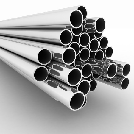 stainless steel: Metal pipes. 3d render  illustration  on the white  background