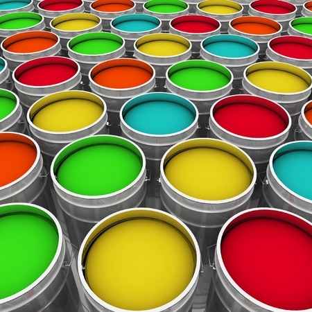 open buckets with a paint Stock Photo - 17541248