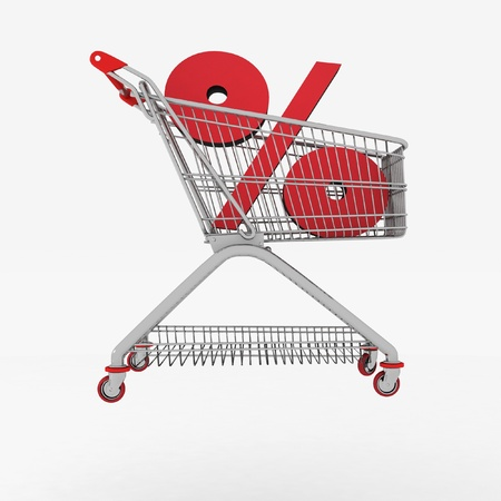 inwardly: shopping cart with sign of percentage inwardly  3d render isolated Stock Photo