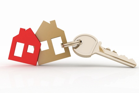 trinket: 3d model house symbol set and key Stock Photo