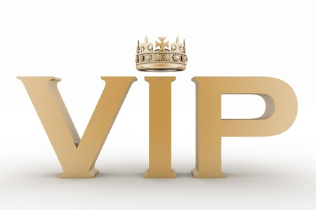 VIP abbreviation with a crown. 3D text isolated photo