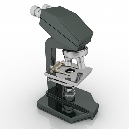 eyepiece: Professional laboratory optical microscope with stereo eyepiece on a white background. 3D render illustration