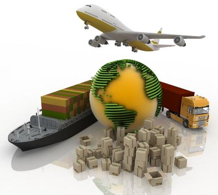 vormen van vervoer voor het vervoer van zijn belastingen Stockfoto