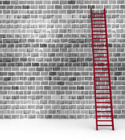 3d illustration of a ladder against near old wall with space for text illustration
