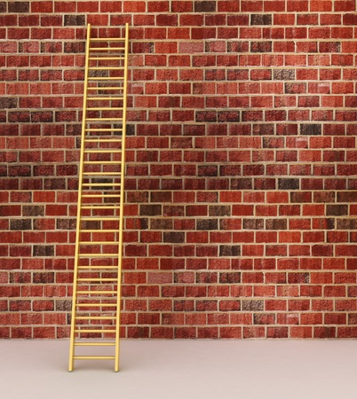 ascends: 3d illustration of a ladder against near old wall with space for text Stock Photo