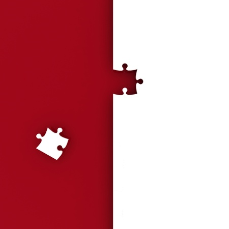 latter: White puzzle on red background. Isolated 3D image