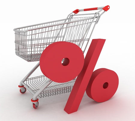 shopping cart with sign of percentage inwardly. 3d render isolated photo