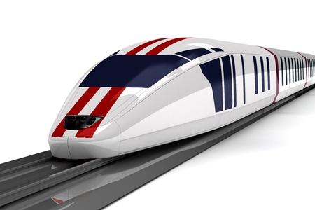 estacion tren: tren de alta velocidad sobre un fondo blanco