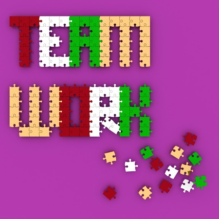 Word consisting of elements of puzzle. 3D image photo