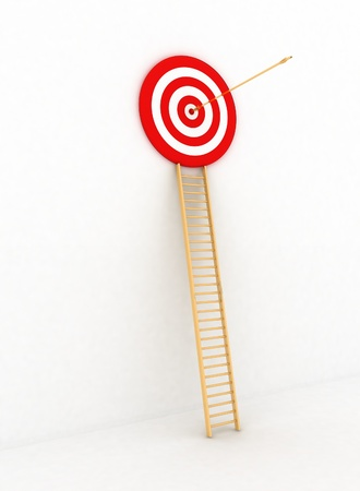 arrow hitting the center of a red target. 3d render isolated white background photo
