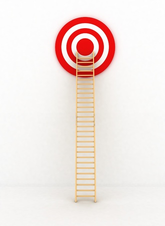 Ladder to middle of target on white background photo