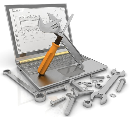 specialists: 3-D illustration of a notebook with the tools and fasteners of details for repair