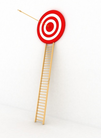 arrow hitting the center of a red target  3d render isolated white background photo