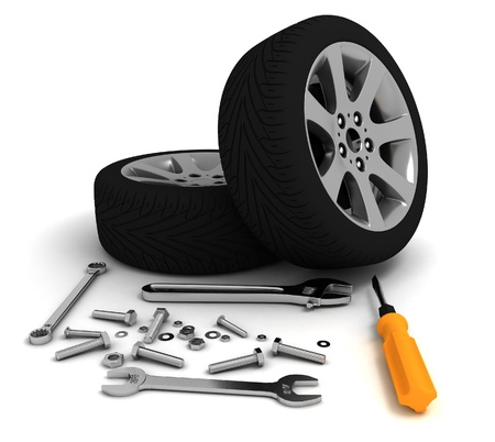 auto service: Wheel and Tools  Car service  Isolated 3D image
