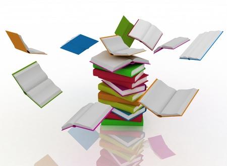 revolve: open books revolve around a stack of books