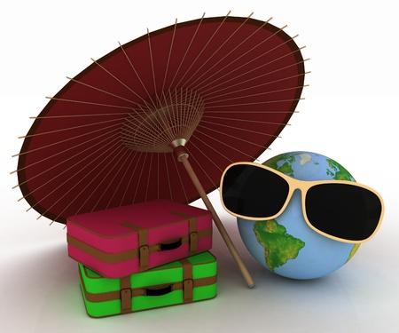 3d bol in zonnebril met een koffers en paraplu Stockfoto